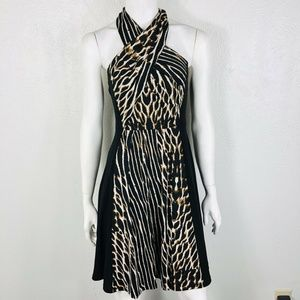 Vince Camuto Size 2 Black Printed Tie Neck Dress
